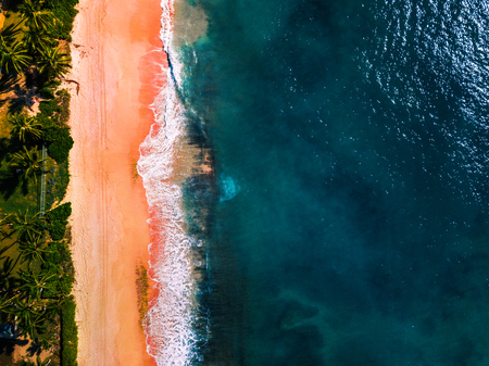 Aerial view of the beach on the island of Oahu, Hawaii
