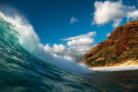 Powerful wave ready to break on shore. Oahu, Hawaii