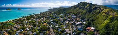 Aerial panorama of the East Coast of Oahu, Hawaii
