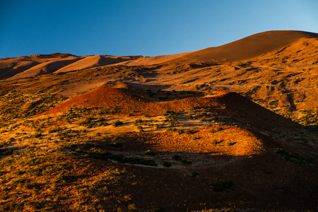 Hilly terrain of Mauna Kea volcano at sunset. Big Island, Hawaii