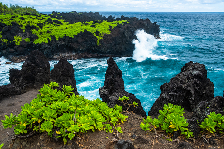 Scharfe Vulkanküste im Osten von Maui in der Nähe des Waianapanapa State Park mit üppiger grüner Vegetation und heftigen Meereswellen. Hawaii