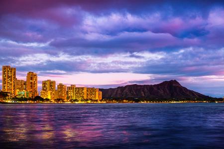 City of Honolulu and Diamond Head volcano at twilight. Oahu, Hawaii