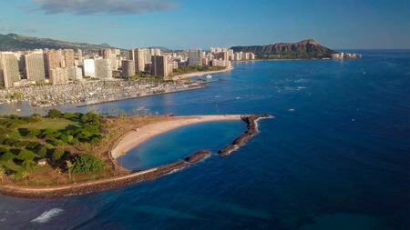 City of Honolulu aerial view with Ala Moana Beach Park on the foreground. Hawaii Stock Photo