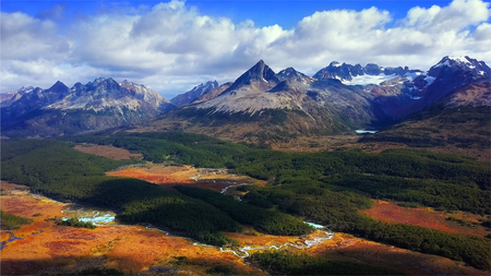 Aerial panorama of the Los Lobos valley near the town Ushuaia, Tierra del Fuego, Argentina Banco de Imagens