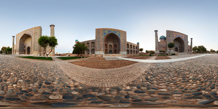Spherical, 360 degrees, seamless panorama of the city of Samarkand, Uzbekistan