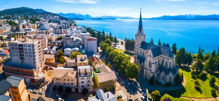 Aerial panorama of the city of Bariloche, Argentina Stok Fotoğraf