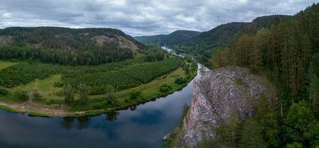 Aerial view of the river of Belaya and Ural Mountains, Russia Stock Photo