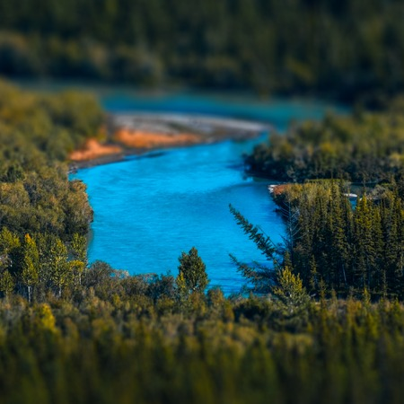 Blue rapid river flows through the wild area with coniferous forest. Altai Republic, Russia. Tilt shift effect applied Stock fotó