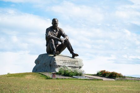 SROSTKI  RUSSIA - AUGUST 12, 2018: Memorial dedicated to Vasiliy Shukshin, Russian actor, writer, screenwriter from Altai Krai
