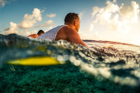 Surfers paddle in the ocean at sunset 写真素材