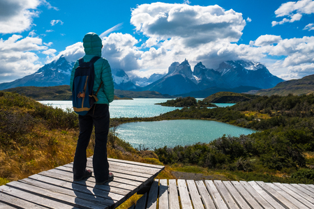 Woman hiker stands on the wooden walkway and enjoys spectacular view of the Torres del Paine National Park with its blue lake of Pehoe and snow capped mountains of Cordillera Paine