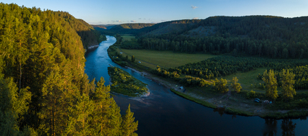Panorama of the river of Belaya and Ural Mountains. Russia