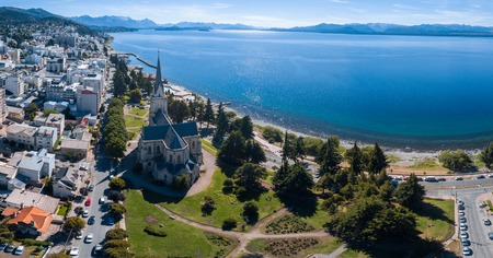 Aerial panorama of the city of Bariloche, Argentina Stock fotó