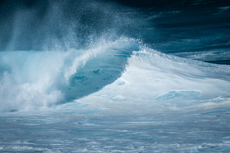 Foamy wave breaks on the North Shore of Oahu in Hawaii Stock fotó