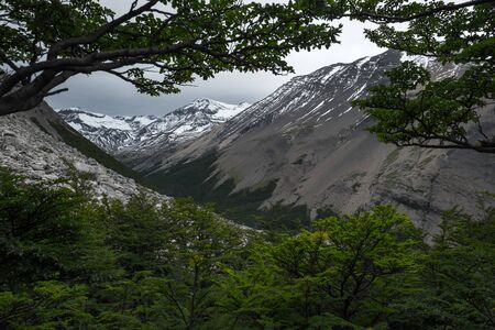 Snow capped mountains in Chilean Patagonia