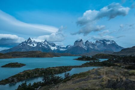 Torres del Paine National Park during the blue hour before sunrise. Chile