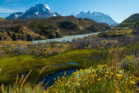 Landscape with snow capped mountains, rapid river and swamp. Torres del Paine National Park. Chile Stock fotó