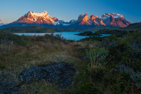 Torres del Paine National Park during the golden hour at sunrise. Chile