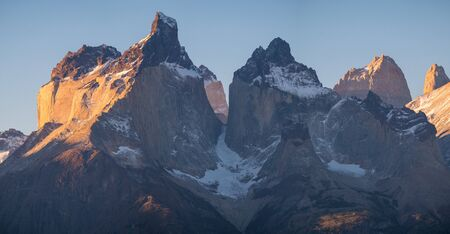 Cuernos Towers of Cordillera Paine in Torres del Paine National Park in Chilean Patagonia at sunset