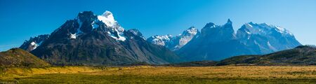 Panorama of the Cordillera Paine during sunny cloudless day. View from the southwest area of Torres del Paine National Park, Chile Stock fotó