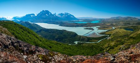 Panorama of the Torres del Paine National Park from the southwestern side of the park (near the Grey glacier). Chile