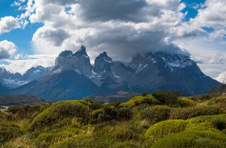 Panorama of Torres del Paine National Park with snow caped mountains (Cordillera Paine) covered in the clouds and lush green vegetation on the foreground