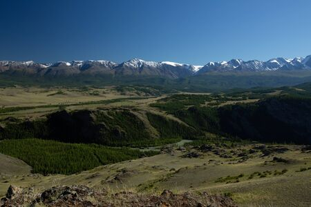 Snow capped mountains of the Chuysky Range, Altai Republic, Russia
