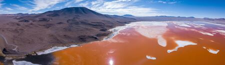 Aerial panorama of the salty lake named Laguna Colorada. Bolivia, Altiplano