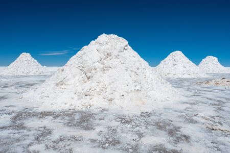 Heap of salt in Bolivian Salar de Uyuni