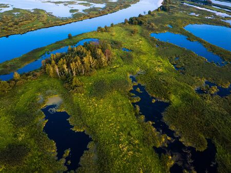Aerial view of the river and wetland. Kama river in Russia Standard-Bild