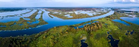 Aerial view of the river of Kama and its wetlands. Russia
