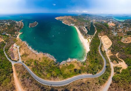 Aerial view of the coastline of Phuket island in Thailand