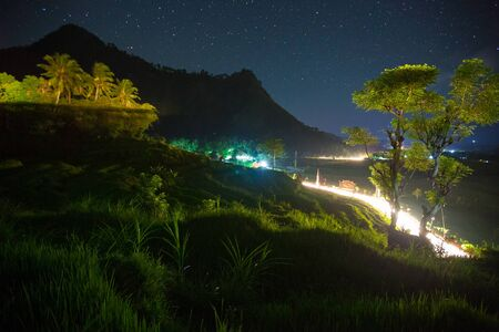 Paddy field at night. Famous rice terraces in Bali, Indonesia