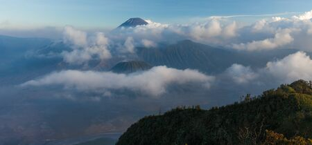 Panorama of the complex of volcanoes in Indonesia. Bromo, Semeru and Batok volcanoes