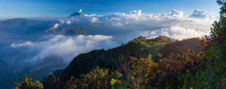Panorama of the Bromo Tengger Semeru National Park during sunset. Java, Indonesia