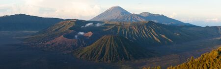 Panorama of the Bromo Tengger Semeru National Park during sunrise. Java, Indonesia Фото со стока