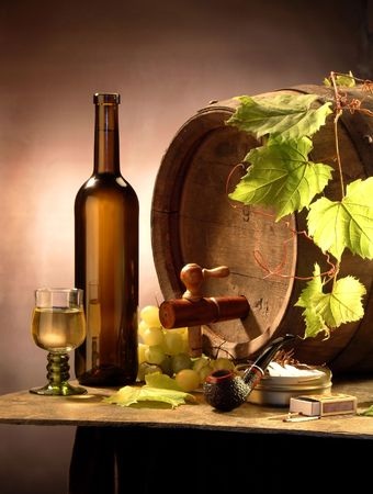 fruit of the spirit: Still life with white wine