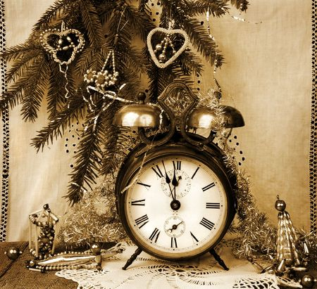 hour glass figure: Vintage New Year  - Still life with old alarm-clock Stock Photo
