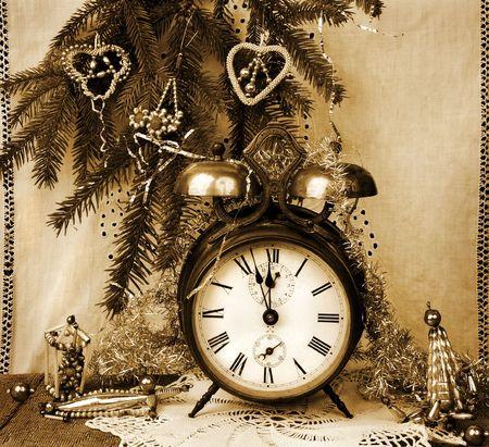 Vintage New Year  - Still life with old alarm-clock Stok Fotoğraf
