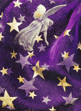 Violet festive background with angel and golden stars photo