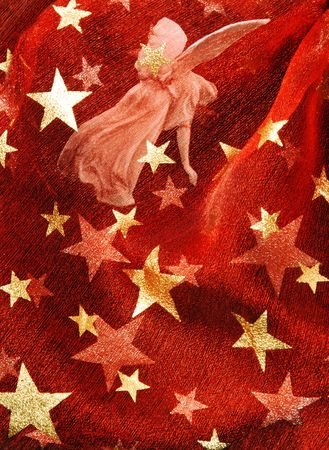 Red festive background with angel and golden stars Stok Fotoğraf