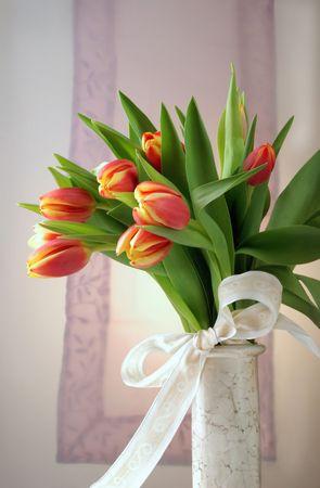 Tulips in vase Stok Fotoğraf