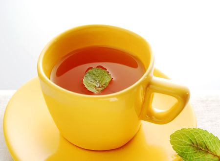 Mint tea with fresh leaves