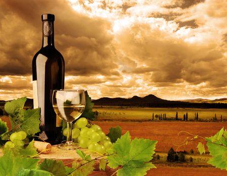 wine bottles: White wine and sunset landscape