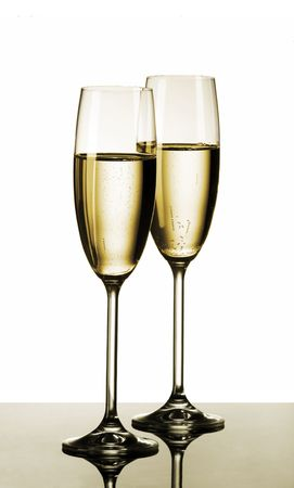 sparkling: Two glasses of champagne Stock Photo