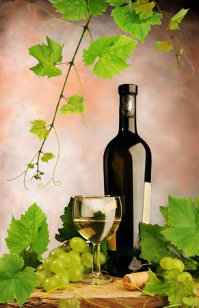 Composition of white wine with grapes