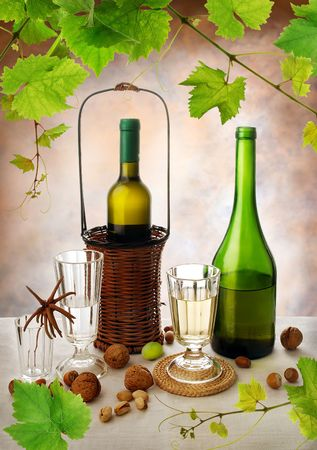 Still life with white wine in vintage style photo