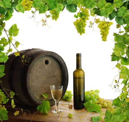 cask: White wine still life with grapevine frame, isolated