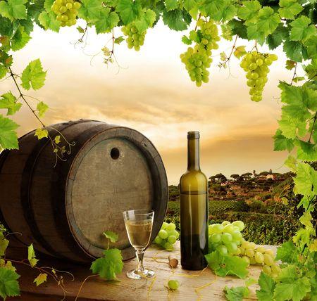 vi�edo: Bodeg�n de vino blanco con marco de vid  Foto de archivo
