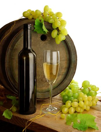 White wine still life with old barrel, isolated
